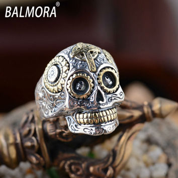 Hot Sale! 100% Real Pure 925 Sterling Silver Jewelry Silver Rings for Women Men Retro Handsome Skull Ring Free Shipping SY20540