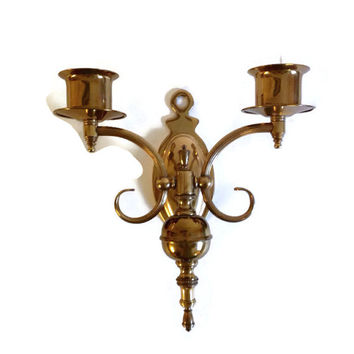 Vintage Brass Light Fixture, Wall Light, Two Lights, Hollywood Regency, Candle Sconce, Marked with Letter M, Architectural Salvage