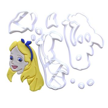 Popular Film Alice in Wonderland Character Cookie Cutter Set Cake DecoratioTool Custom Made 3D Printed Fondant Cutter Stamp Mold