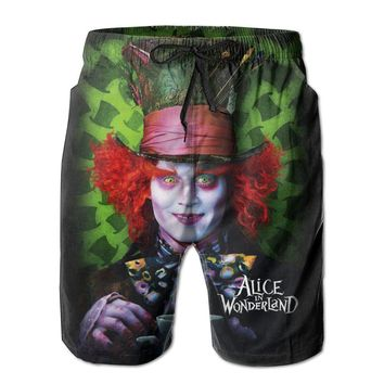 Alice In The Looking Glass Poster Mens Fashion Casual Beach Shorts