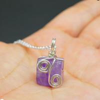 Genuine Cubic Amethyst Necklace, Sterling Silver Wrapped Amethyst Pendant , Amethyst jewelry Crystal Healing Chakra Yoga Necklace