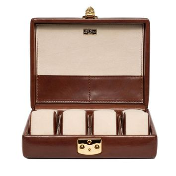 DiLoro Italian Leather Travel Watch Case Eight Watches Coffee Brown