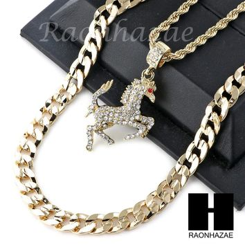 """ICED OUT 21 SAVAGE HORSE CHARM DIAMOND CUT 30"""" CUBAN CHAIN NECKLACE SET G20"""