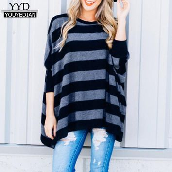 Fashion Striped T-shirt Women 2018 O-Neck Batwing Long Sleeve Pullovers Casual Loose Tops TShirt Female Camisetas Mujer *1219