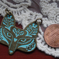 Vintage style hand painted turquoise and antique bronze finish fox charm pendant