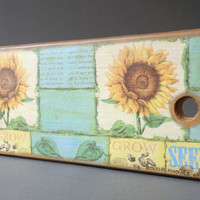 Decorative handmade tableware kitchen decor Petrikivsky cutting board Sunflowers