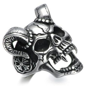 Stainless Steel Skull Goat Head Horn Ring