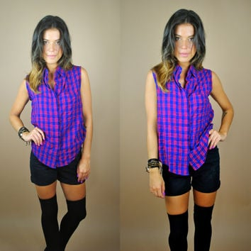 Vintage 1990s red blue americana sleeveless grunge plaid oversize button down top shirt blouse