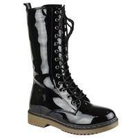 Womens Mid Calf Boots Lace Up Combat Casual Shoes Black
