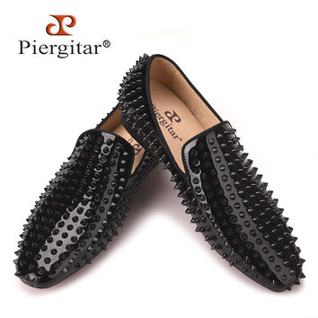new Handmade loafers with black rivets Fashion party and prom men's smoking slippers  male flats