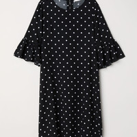Flounce-sleeved dress - Black/Spotted - Ladies | H&M GB