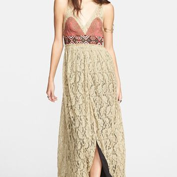 Women's Free People Crushed Gold Lace Dress