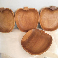 4 large Acacia wood Apple Dishes ~ Apple or Pumpkin Bowls