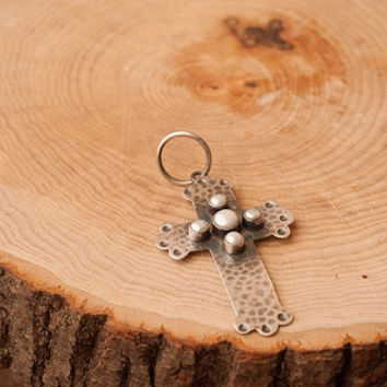 Turquoise and Pearl Hammered Cross Pendant