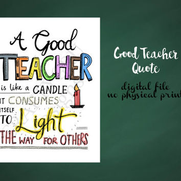 Teacher's appreciation gift, gift for teacher, unique gift for teacher, a teacher is like a candle quote, teacher's day gift