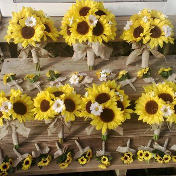 17 piece Sunflower Wedding Bouquet Package wrapped in Natural Burlap