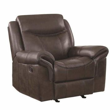 Contemporary Style Padded Plush Leatherette Glider Recliner, Dark Brown - 602333
