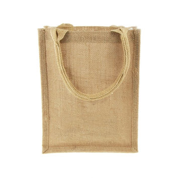 Burlap Tote Bag with Gusset Handle, 11-inch