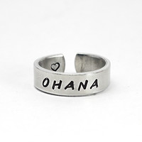 Ohana Family Ring, Stamped Aluminum Hawaiian Word Ring, Family Jewelry, Love, Father mother, Brothers Sisters