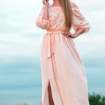cream color summer Dress, maxi off shoulder dress plus size, full length elegant dress, lace summer long dress, short sleeve white dress