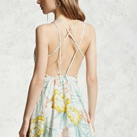 Floral Strappy Open-Back Dress
