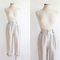 Vintage 80s Tan Linen Pleated High Waisted Trousers | womens 6