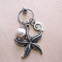 316L Surgical stainless steel captive ring Helix, cartilage, earring with starfish, sea snail and freshwater pearl