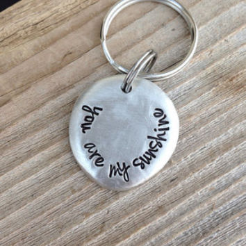 You are my sunshine hand stamped pewter pebble keychain valentine gift