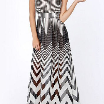 Semi-Sheer Striped Chiffon Maxi Dress