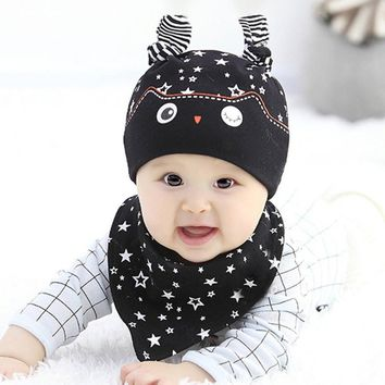 High Quality Fashion Lovely Boys Girls Sleep Hat Cap+Saliva Towel Triangle Head Scarf Set
