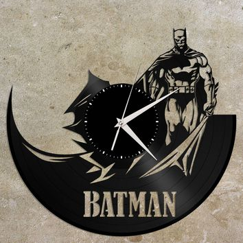 Batman Clock - Vinyl Record Clock, Wall Clock, Modern Wall Art, Vinyl Wall Clock, Batman Art, Batman Gift