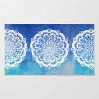 White Floral Medallion on Indigo & Turquoise Watercolor Rug by Tangerine-Tane