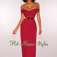Red Off Shoulder Knotted Palazzo Jumpsuit