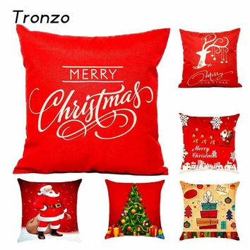 Tronzo  Christmas Decorations For Home 1pcs Reindeer Jute Pillow Cover Case MERRY CHRISTMAS Square Linen Kerst  Noel