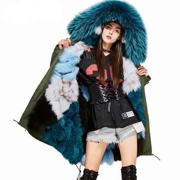 High end super large hooded womens jacket genuine fur coat warm winter parka