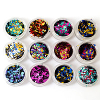 Hot Round Thin Paillette Mixed 12 Colors Nail Art Glitter Sticker Decorations 1-3mm Shinning Round Sequin Wedding Crafts JIC12