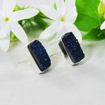 Navy Blue Druzy Bar Stud Earrings in 925 Sterling Silver