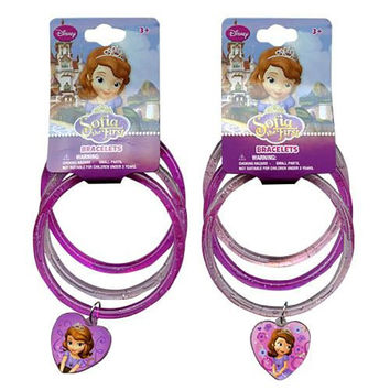 Disney Princess Sofia the First Glitter Bangle Bracelets with Heart Charm - Assorted Styles