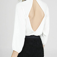 Skinny Sequined Scarf Open Back Blouse from EXPRESS