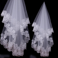 2016 White Direct Selling Wedding Veils Long Acessorios Para Mulher White/ivory Bride Bridesmaid Lace For Dress Accessories Veil