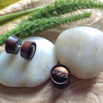 "Fake Gauges, Plugs, ""Autumn Layers"" Handcrafted, Sono Wood, Various (See Listing), Natural, Fall Jewelry"