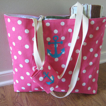 Beach Bag Large, Cotton Candy Anchor Bag with Koozie, Pink Dot with Anchor, READY TO SHIP, Nautical Beach Bag, nautical tote bag