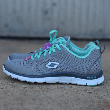 Flex Appeal with Memory Foam by Skechers {Light Grey/ Turquiose} | 12058/GYTQ