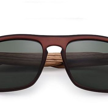 Red and Black Polarized Rectangle Bamboo Sunglasses