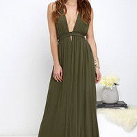 Greek Goddess Olive Green Maxi Dress