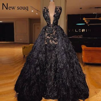 Black Feather Couture Two Pieces Deep V Neck Evening Dress