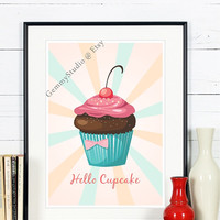 "8x10 & up, Poster Print,""Hello Cupcake"",Funny Kitchen Wall Art,Ice cream,Motivational Poster,Inspirational Quote,Retro,Modern,Vintage Art"