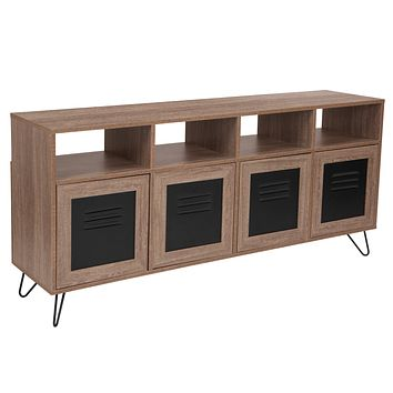 """Woodridge Collection 85.5""""""""W Wood Grain Finish Console and Storage Cabinet with Metal Doors"""
