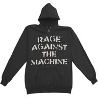 Rage Against The Machine Men's  Large Fist Zippered Hooded Sweatshirt Black