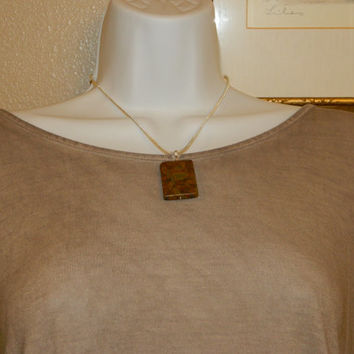 65ct. Mixed Brown Stone, Semi Precious, Agate, Pendant, Necklace, Rectangle, Natural Stone, 136-15